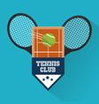 tennis club racket ball court emblem sport vector image
