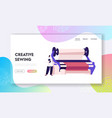 textile machinery manufacture website landing page vector image vector image