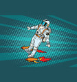 the astronaut is flying on a space rocket vector image vector image