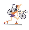 tired cyclist with a broken bike vector image vector image