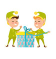 two happy elves with present on white background vector image