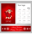 Two-sided calendar and banner in red with monkey vector image vector image