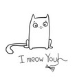 valentine with cat hand drawn funny vector image