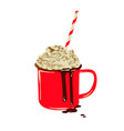 winter whipped cream hot coffee in a red mu vector image