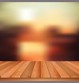 wooden table and abstract blurred background vector image