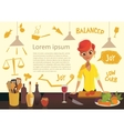 young happy woman cooking in kitchen healthy vector image