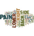 z back pain lower right side text background word vector image vector image