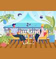 breakfast on guest house or resort terrace scene vector image vector image