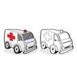 car ambulance emergency patient people hurt vector image vector image