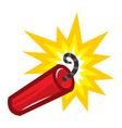 cartoon stick of explosive dynamite tnt with lit vector image vector image