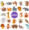cartoon wild animal characters big set vector image