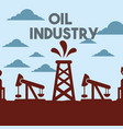 chemical plant or factory pump jack field oil vector image