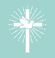 christian cross with dove religious sign vector image vector image