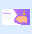crowdfunding charity project pig box gold coin vector image vector image