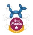 cute balloon dog happy birthday confetti ribbon vector image vector image