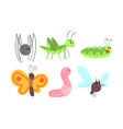 cute cartoon insects set vector image