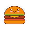 delicious burger kawaii character vector image