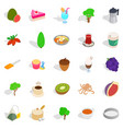 drinking tea icons set isometric style vector image vector image