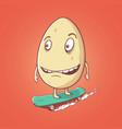 egg rides on skateboard vector image