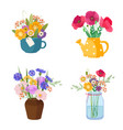 four beautiful wildflower bouquets in different vector image vector image