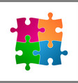 four colored puzzle pieces abstract symbol icon vector image vector image