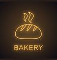 fresh white round bread neon light icon vector image vector image