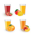 fruit juice in glass vector image vector image