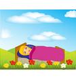 girl sleeps on nature vector image
