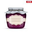 glass jar with raspberries jam vector image vector image