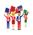 group of flag waving people vector image vector image