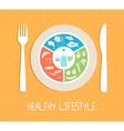 healthy food plate vector image vector image