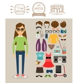 Hipster girl elements Clothes hairstyles and vector image vector image