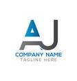 initial aj letter logo design modern business vector image vector image
