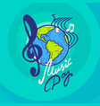 international music day concept background hand vector image vector image