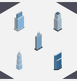 isometric building set of residential tower vector image vector image