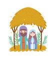 joseph and mary hut desert manger nativity merry vector image vector image