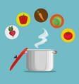 kitchen pot with fresh and organic vegetables vector image