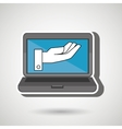 laptop with hand blue isolated icon design vector image