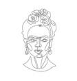 latin female portrait inspired friday kahlo vector image