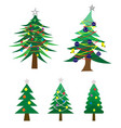 many style of decoratec christmas tree vector image vector image