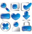 Metallic and blue icons vector image vector image