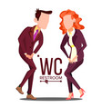 office wc sign female male bathroom vector image vector image