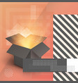 open box realistic 3d magic box on modern 90s vector image vector image