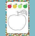 page for coloring cartoon contour apple and vector image