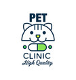 pet clinic ogo template design green badge with vector image vector image