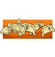 pierogi or dumplings cartoon vector image vector image