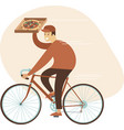 pizza delivery concept courier boy riding bicycle vector image