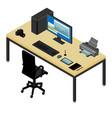 programmer freelancer working place desk and vector image vector image