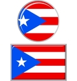 Puerto Rican round and square icon flag vector image vector image