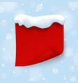 red banner template with snow cap on blue winter vector image vector image